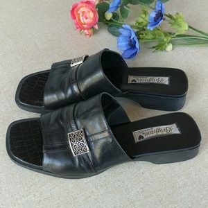 Brighton Beth 9 Black Slip On Sandals Mules Shoes